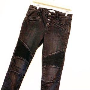 Free People Black Seemed Moto Skinny jeans size 27